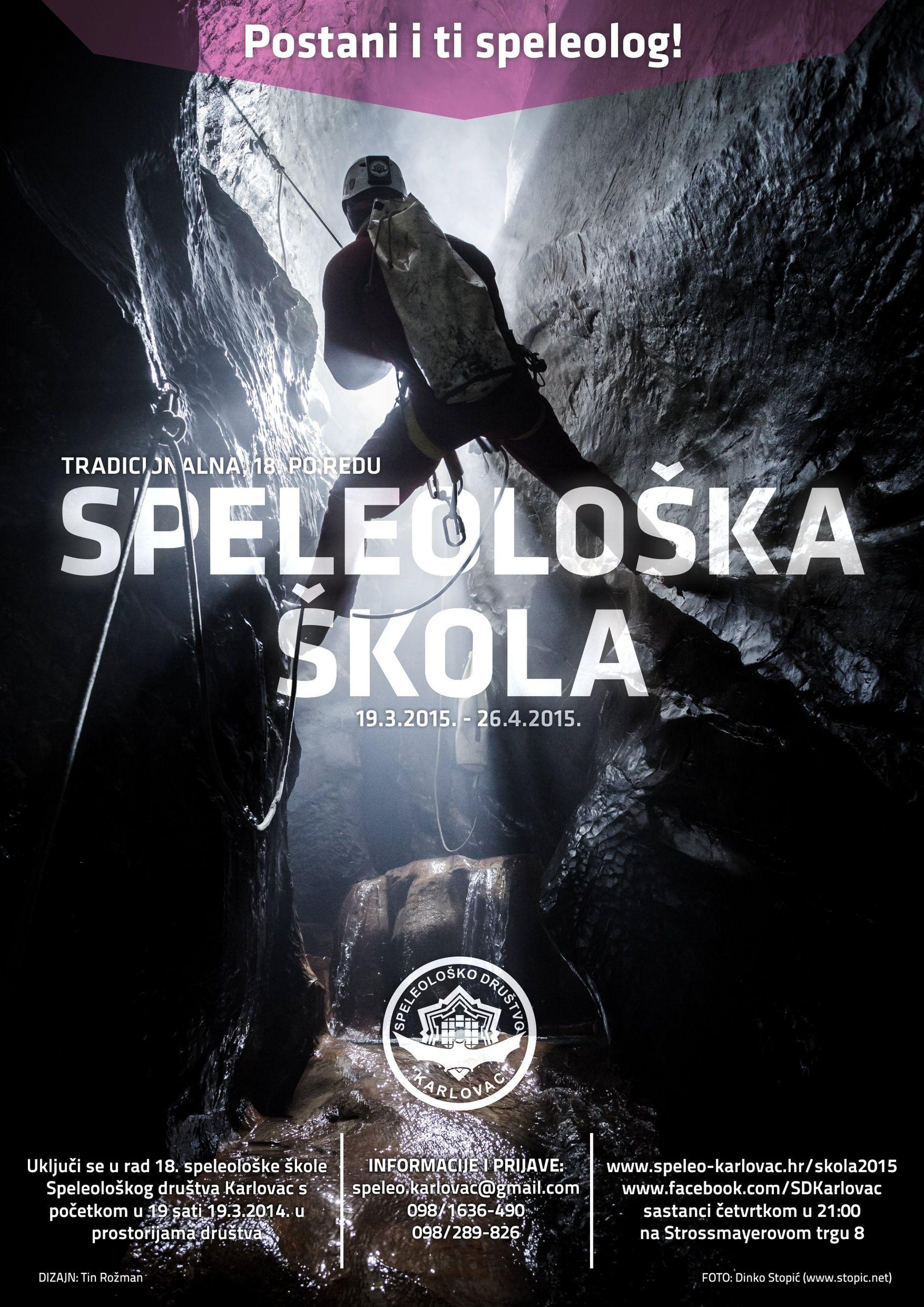 Najava – 18. Speleološka škola Speleološkog društva Karlovac – 19.03.-26.04.2015.